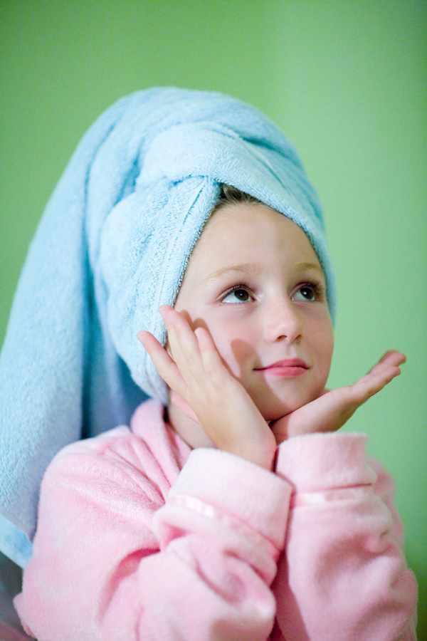 young pre teen posing in photo after bath wrapped in towels, Willa Stein Photography