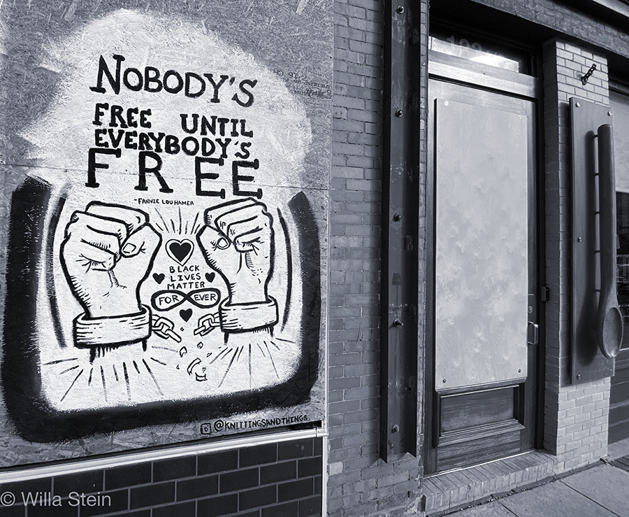 Photo from mural project downtown Raleigh during covid19, Nobody's Free Until Everybody is Free.