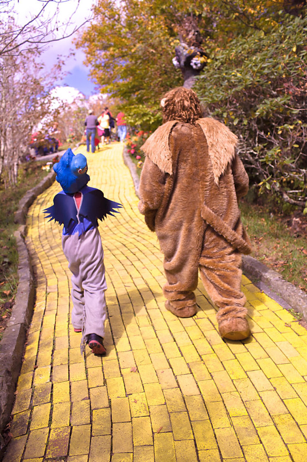 Land of Oz in North Carolina. Photo of yellow brick road in park with flying monkey and lion from behind.