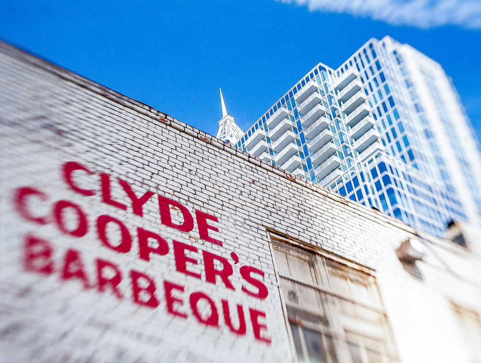 Clyde Coopers BBQ sign on building in Raleigh, NC