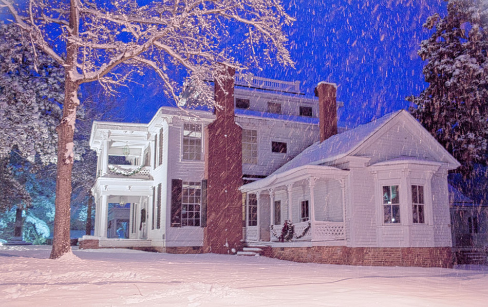 House in snowstorm Holly Springs, NC by Willa Stein